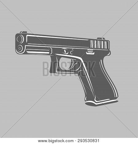 9mm Semi-automatic Pistol. Modern Firearm Vector Illustration.