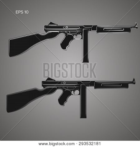 Vintage Retro American Sub-machine Gun Vector Illustration. Old Famous Gangster Armament.