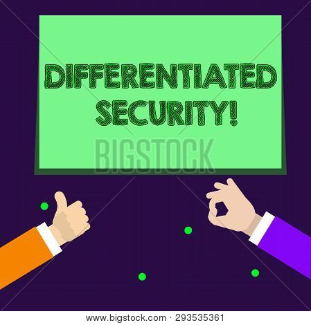 poster of Writing note showing Differentiated Security. Business photo showcasing deploys different policies according to identity Two Businessmen Hands Gesturing the Thumbs Up and Okay Sign.
