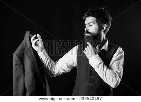 Custom Made Suit. Man Bearded Wear Formal Suit With Shirt Vest And Jacket. Elegant Custom Outfit. Ta