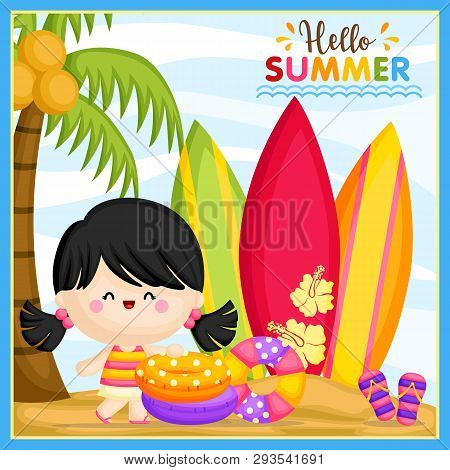 A Vector Of Cute Little Girl Welcoming Summer Time At The Beach And Ready To Surf