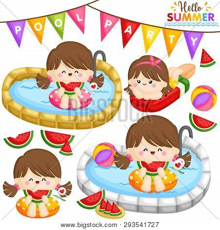 A Vector Of Cute Little Girls Eating Sweet Watermelon And Partying At The Pool