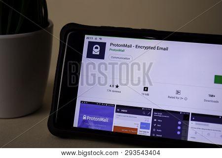 Bekasi, West Java, Indonesia. April 5, 2019 : Protonmail - Encrypted Email Dev Application On Smartp