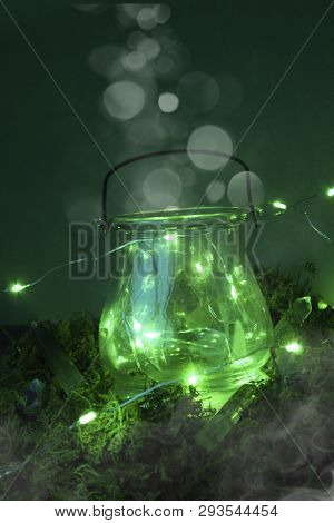 Magic Cauldron, Green Background, Moss, Firefly, Fog Smoke Bokeh Close-up