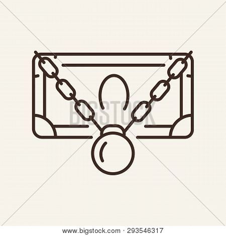 Arrested Money Line Icon. Banknote With Chain And Shackle. Bankruptcy Concept. Vector Illustration C