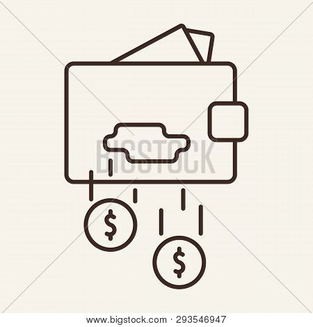 Leaky Wallet Line Icon. Purse, Breach, Hole, Falling Cash. Finance Concept. Vector Illustration Can