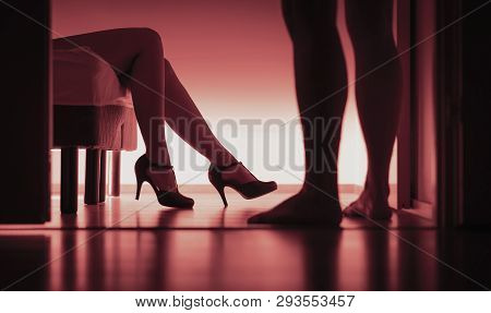 Escort, Paid Sex Or Prostitution. Sexy Woman And Man Silhouette In Bedroom. Rape Or Sexual Harassmen