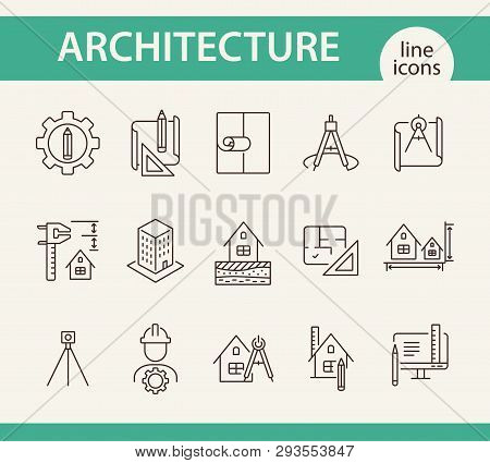 Architecture Line Icon Set. Pencil, Ruler, Floor Plan, Building Project. Architecture Concept. Can B