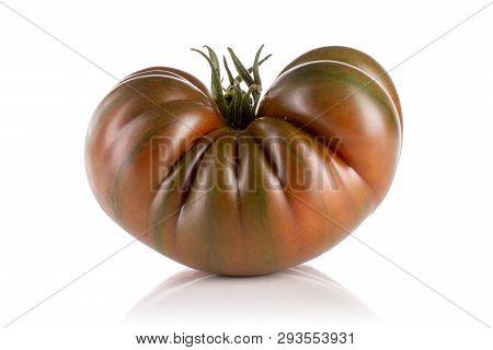One Whole Meaty Fresh Tomato Primora Isolated On White Background