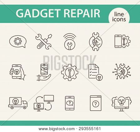 Gadget Repair Line Icon Set. Wrench, Gear, Smartphone, Computer. Digital Gadgets Concept. Can Be Use