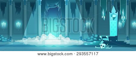 Dark Lord, Dracula, Enchanted Monster Castle Frightening Throne Room Cartoon Vector Concept With Hum