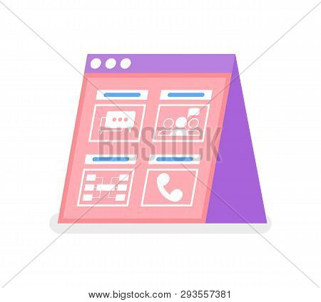 Online Communication Screen, Message And Cell Icons, Association And Notification. Abstract Pink Web
