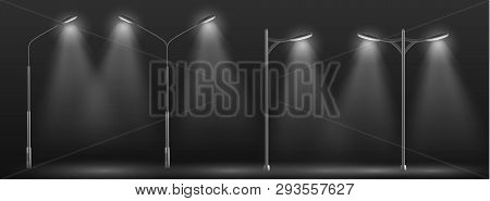 Modern City Street Lights Row Working At Night 3d Realistic Vector. Urban Electrical Lightning Syste