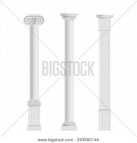 Antique Cylindrical Doric, Ionic Orders And Modern Cubic Columns Of Marble Stone 3d Realistic Vector