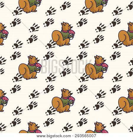 Cute Squirrel Cartoon Seamless Vector Pattern. Hand Drawn Forest Pawprint Tile.
