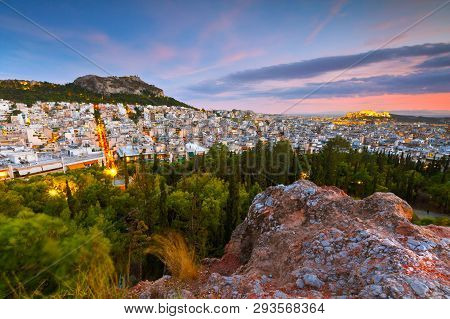 View Of Athens, Lycabettus Hill And Acropolis From Strefi Hill.