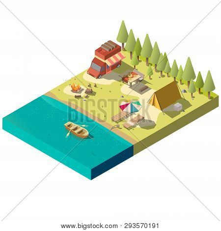 Campsite On River Shore Isometric Projection Vector With Camping Van, Tourist Tent, Fireplace, Dinne