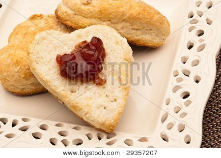 Heart Shaped Biscut With Jam