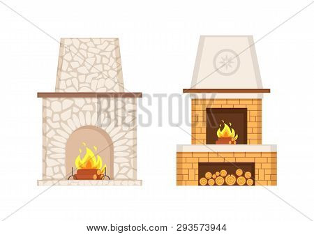 Fireplace With Flames And Burning Logs Icons Set Vector. Stone And Brick Pavement Of Furnace, Prolon