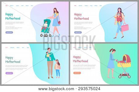 Happy Motherhood Vector, Woman Walking With Kid Sitting In Perambulator, Mother And Child. Care For