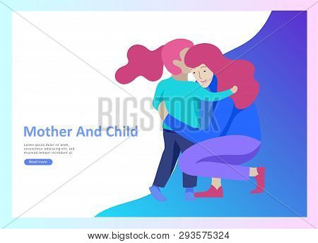 Set Of Landing Page Templates For Happy Mothers Day, Child Health Care, Happy Childhood And Children