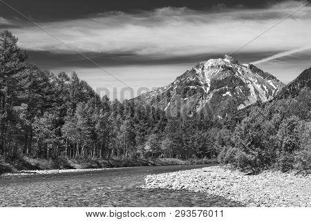 Idyllic Landscape Of Kamikochi, Nagano, Japan In Black And White