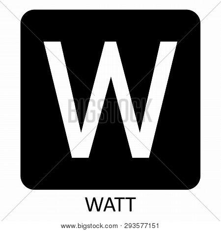 White Watt W Symbol Illustration On Dark Background
