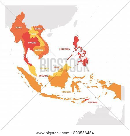 Southeast Asia Region. Map Of Countries In Southeastern Asia. Vector Illustration