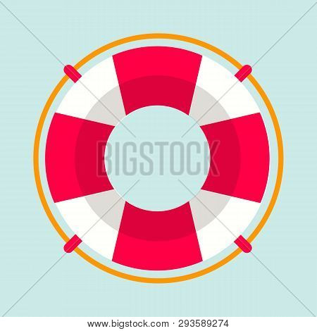 Striped Red And White Lifebuoy With Rope Around. Equipment For Safety In Water. Standard Inflatable