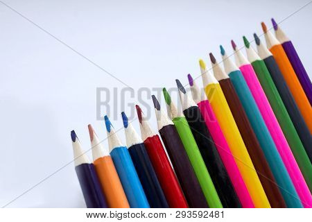 Color Pencils On A White Background, A Line Of Colored Pencils. Set Of Pencils. Children's Creativit