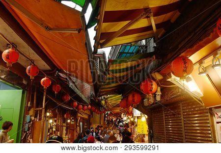 Jiufen Taiwan March, 31 2019 : Restaurant And Souvenir Shop On Walkway At Jiufen Market