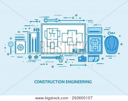 Engineering And Architecture. Drawing Construction. Architectural Project. Design Sketching. Workspa
