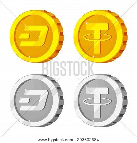 Vector Illustration Of Cryptocurrency And Coin Icon. Collection Of Cryptocurrency And Crypto Vector