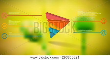 3d Illustration Infographic Template. The Embossed Triangle Is Randomly Divided To Five Color Parts.