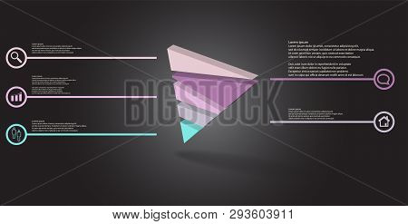3D Illustration Infographic Template With Embossed Triangle Randomly Divided To Five Parts