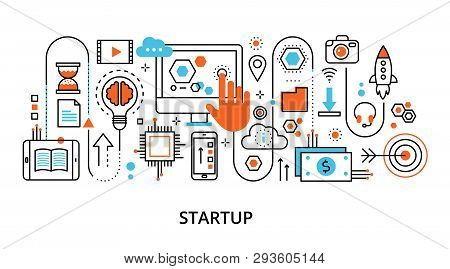 Modern Flat Thin Line Design Vector Illustration, Concept Of Startup Project And Innovation Developm
