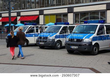 Berlin, Germany - August 26, 2014: Police Cars Wait In Berlin. Federal Police (bundespolizei) Of Ger