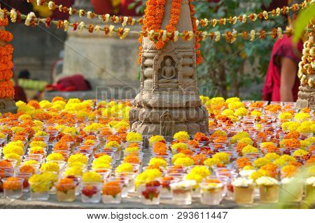 Sculpture Of Buddha At The Mahabodhi Temple