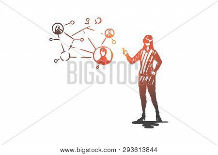 Virtual, Reality, Communication, Technology, Woman Concept. Hand Drawn Woman In Virtual Reality Glas