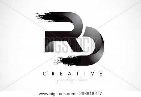 Rd Letter Design With Brush Stroke And Modern 3d Look Vector Illustration.