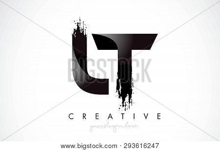 Lt Letter Design With Brush Stroke And Modern 3d Look Vector Illustration.