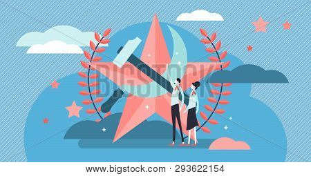 Communism Vector Illustration. Flat Tiny Social Ideology Person Concept. Symbolic Red Star, Hummer A