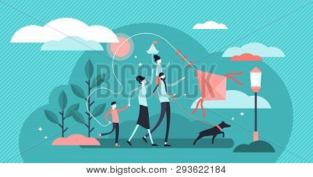 Family Vector Illustration. Flat Tiny Traditional Happy Household With Pet. Romantic Fun Outdoor Par