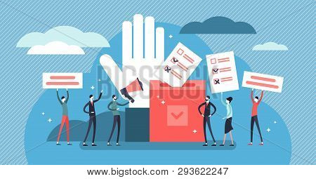 Flat tiny democracy vector illustration. Flat tiny ideology persons concept. Freedom of speech, justice voting and opinion. Symbolic referendum and poll choice event. Citizen crowd political election poster