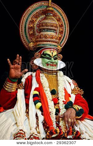 CHENNAI, INDIA - SEPTEMBER 7: Indian traditional dance drama Kathakali preformance on September 7, 2009 in Chennai, India. Performer plays Arjuna (pacha) character