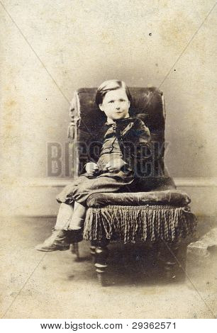 Portrait Of Victorian Young Boy Antique Photo