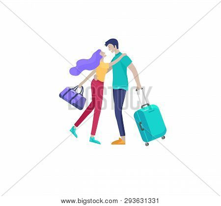 People Travel On Vacation. Tourists With Laggage Travelling Couple And Friends, Go On Journey. Trave