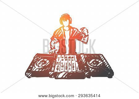 Edm, Dj, Party, Music, Club Concept. Hand Drawn Dj Play Music On Edm Party Concept Sketch. Isolated