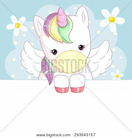Cute Rainbow Unicorn With Wings On A Blue Background With Flowers And A Banner