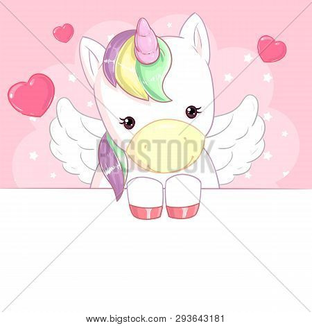Cute Rainbow Unicorn With Wings On Pink Background With Hearts And Banner
